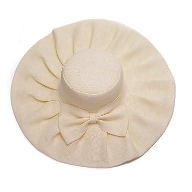 Linen Summer Womens Kentucky Derby Wide Brim Sun Hat Wedding Church Sea  Beach A047 (Beige 2363cc4f27d1