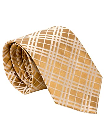 b634daecddab Burberry London Mens Necktie Classic Diagonal Stripe Pattern Wide Cut Silk  Tie (Cross Check Gold