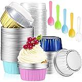 Suclain 200 Pieces 5 OZ Aluminum Foil Baking Cups with Lids and Spoons Include100Pcs MuffinLinersCupsReusableFoil Cupca