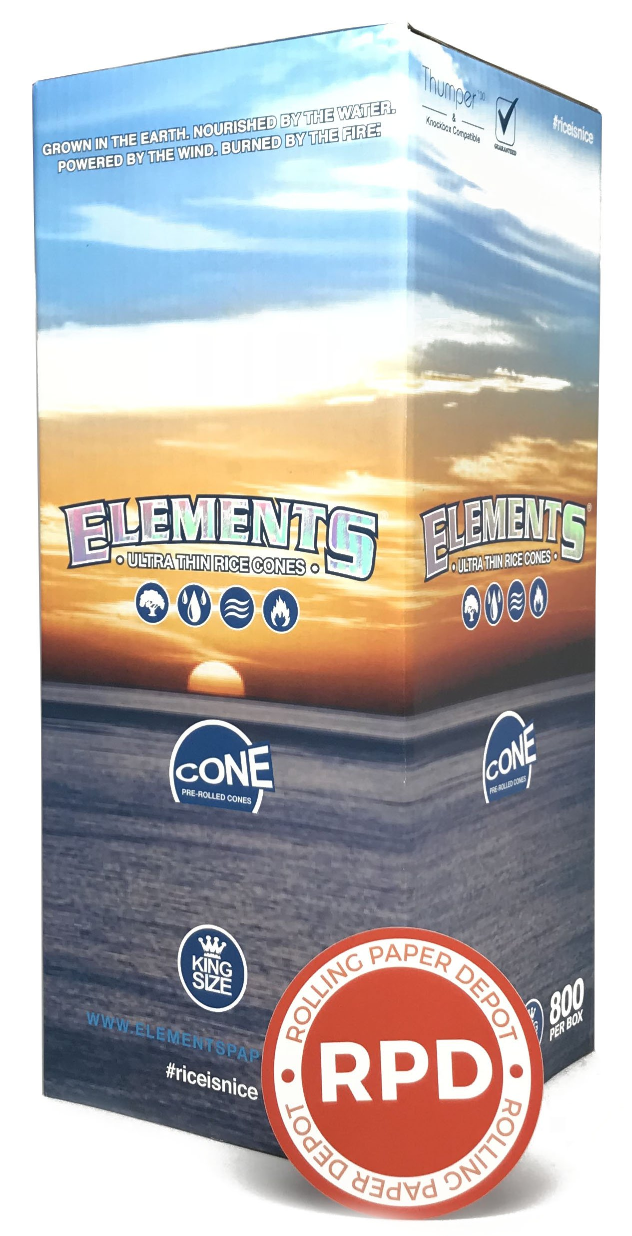 Elements Pre-Rolled Cone 800 Pack (King Size) with Rolling Paper Depot Sticker by Elements (Image #1)