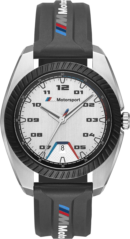 BMW M Motorsport - Reloj de Cuarzo de Acero Inoxidable con Correa de Silicona, Negro, 20 - BMW1001