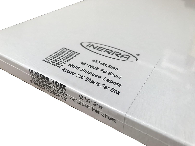 48 per A4 Foglio - Indirizzo 20 Sheets Inerra Autoadesivo Vuoto Etichette - 45.7 x 21.2mm Avery Compatibile con: L6009 Adesivi Prodotto in UK Bianco A4 Fogli Vuoti Etichette Quantit/à Opzioni