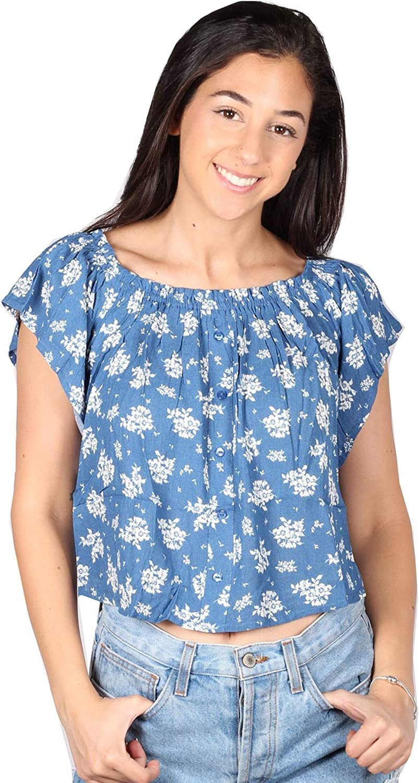 Lori/&Jane Big Girls Blue Floral Print Off Shoulder Top 12-18
