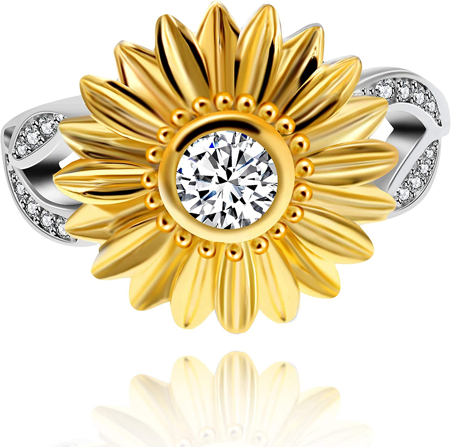 Uloveido S925 Sterling Silver Daisy Ring Two Tones Zircon Sunflower Ring 3D Flower Wedding Party Jewelry for Women Girls Y759