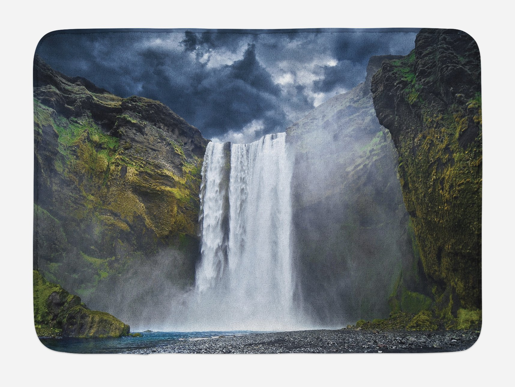 Ambesonne Waterfall Bath Mat, Waterfall and Grand Cliffs in Northern America Force of Nature Art Print, Plush Bathroom Decor Mat with Non Slip Backing, 29.5 W X 17.5 W Inches, Green Blue White
