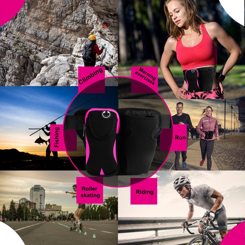 Workout Waist Pouch Fitness Sport Waist Pack Exercise Fanny Pack with Water-Bottle Holder for Hiking Running Gym Marathon Cycling Innens Running Belt Sports Waist Bag