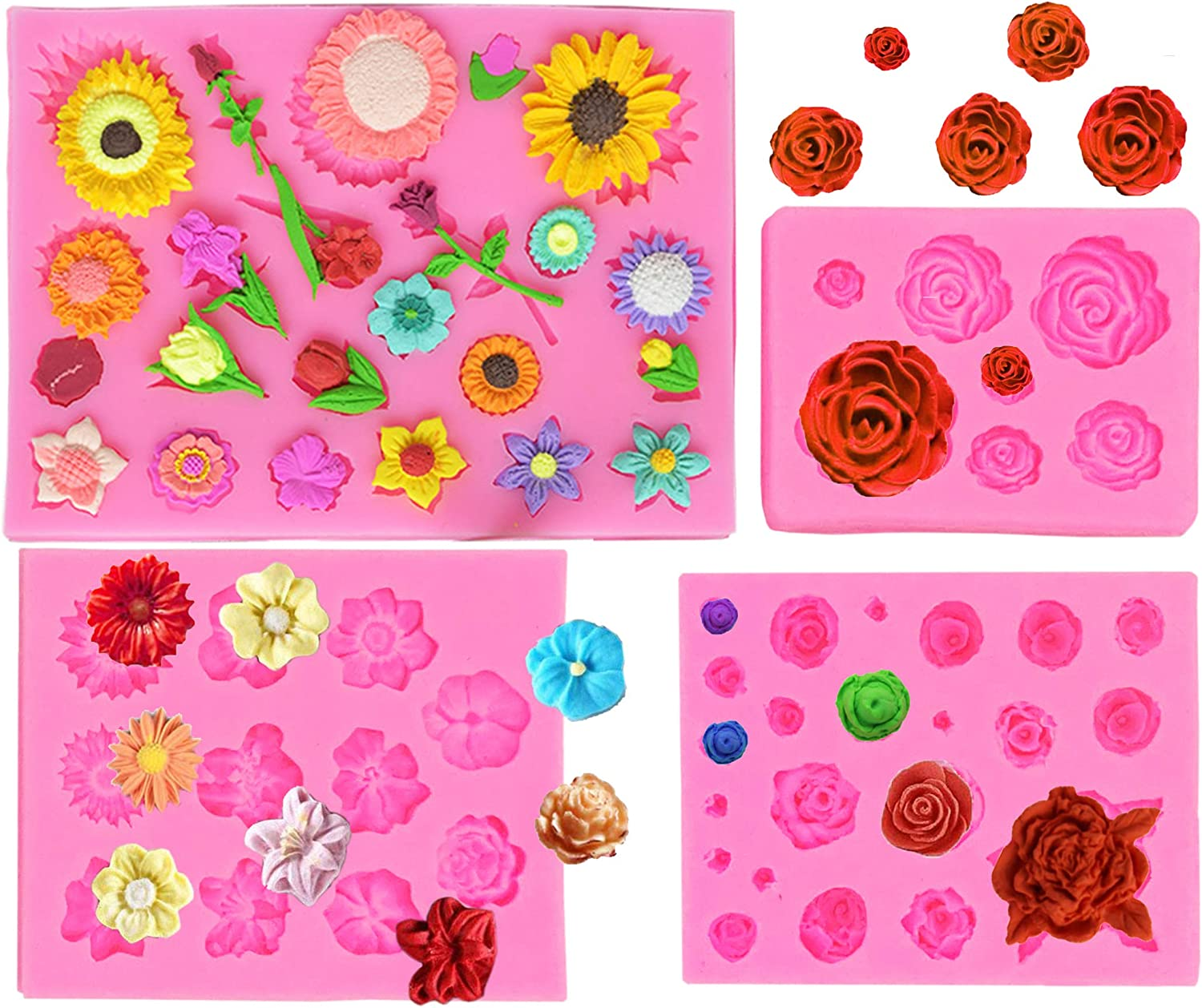 Antallcky 4 Pack Flower Fondant Mold Bud Pot Silicone Alabastrum Bloom Mold for Sunflower Daisy Tulips Plum Blossom Posy Cake Decoration, Chocolate Candy Polymer Clay Cookie Sugar Craft Projects-Pink