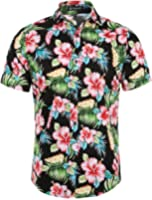 Allegra K Men Collared Short Sleeves Floral Slim Fit Shirt
