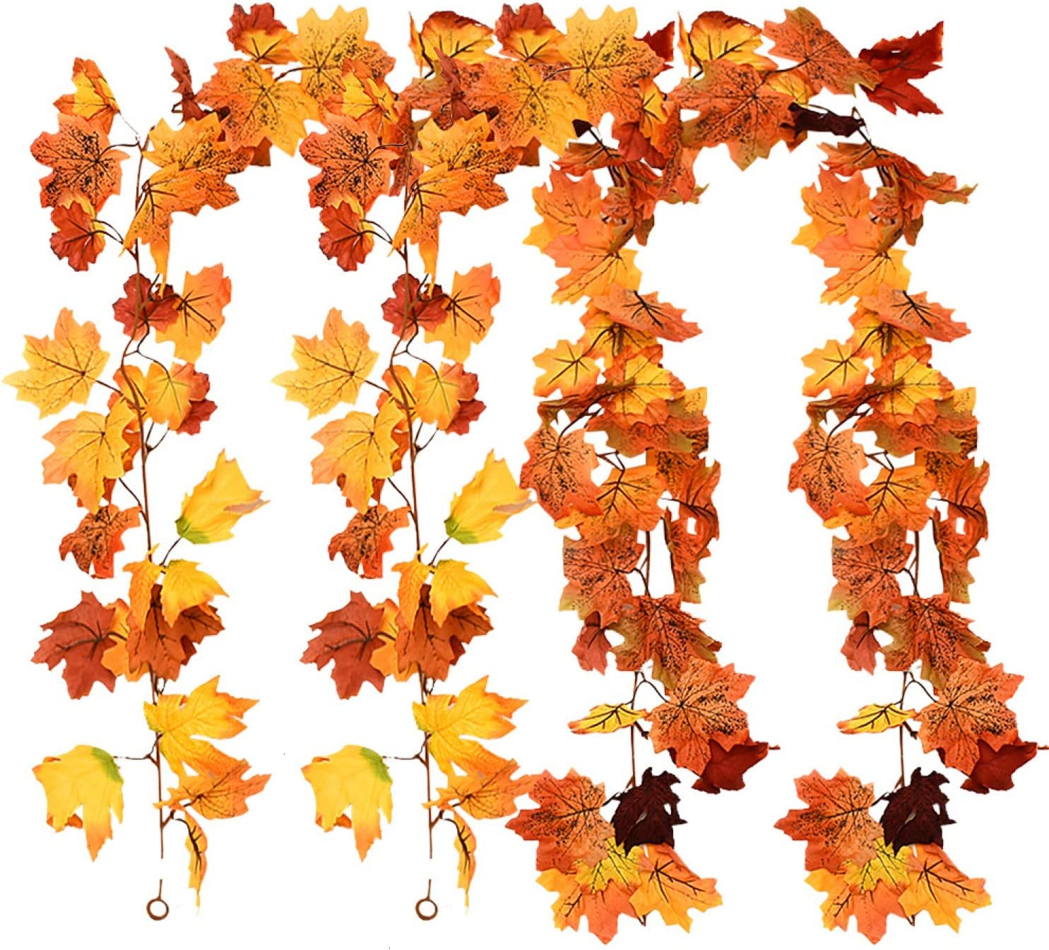 Rocinha Fall Garland 2 Pack Maple Leaf Garland Thanksgiving Decorations for Home, 5.9ft/Piece Fall Leaves Garland