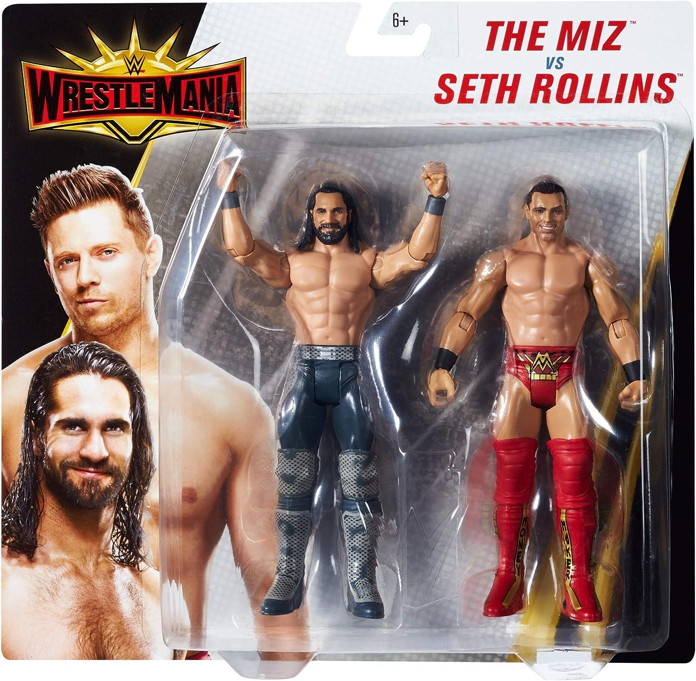 WWE Wrestlemania Pack de 2 Figuras de Acci/ón Luchadores Seth Rollins vs Juguetes Ni/ños 8 A/ños Mattel GDC05 The Miz