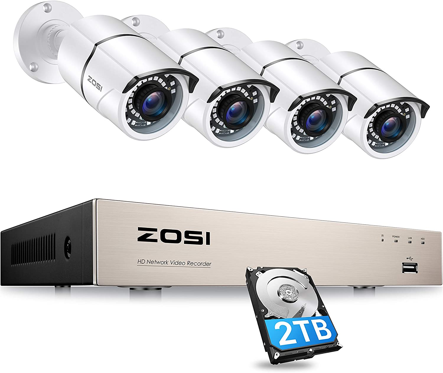 ZOSI 8CH 5MP 2K+ PoE Security Cameras System Outdoor with 2TB Hard Drive,H.265+ 5MP 8Channel NVR System and 4pcs Wired 5MP IP67 Weatherproof 120ft Night Vision PoE IP Cameras for 24/7 Recording