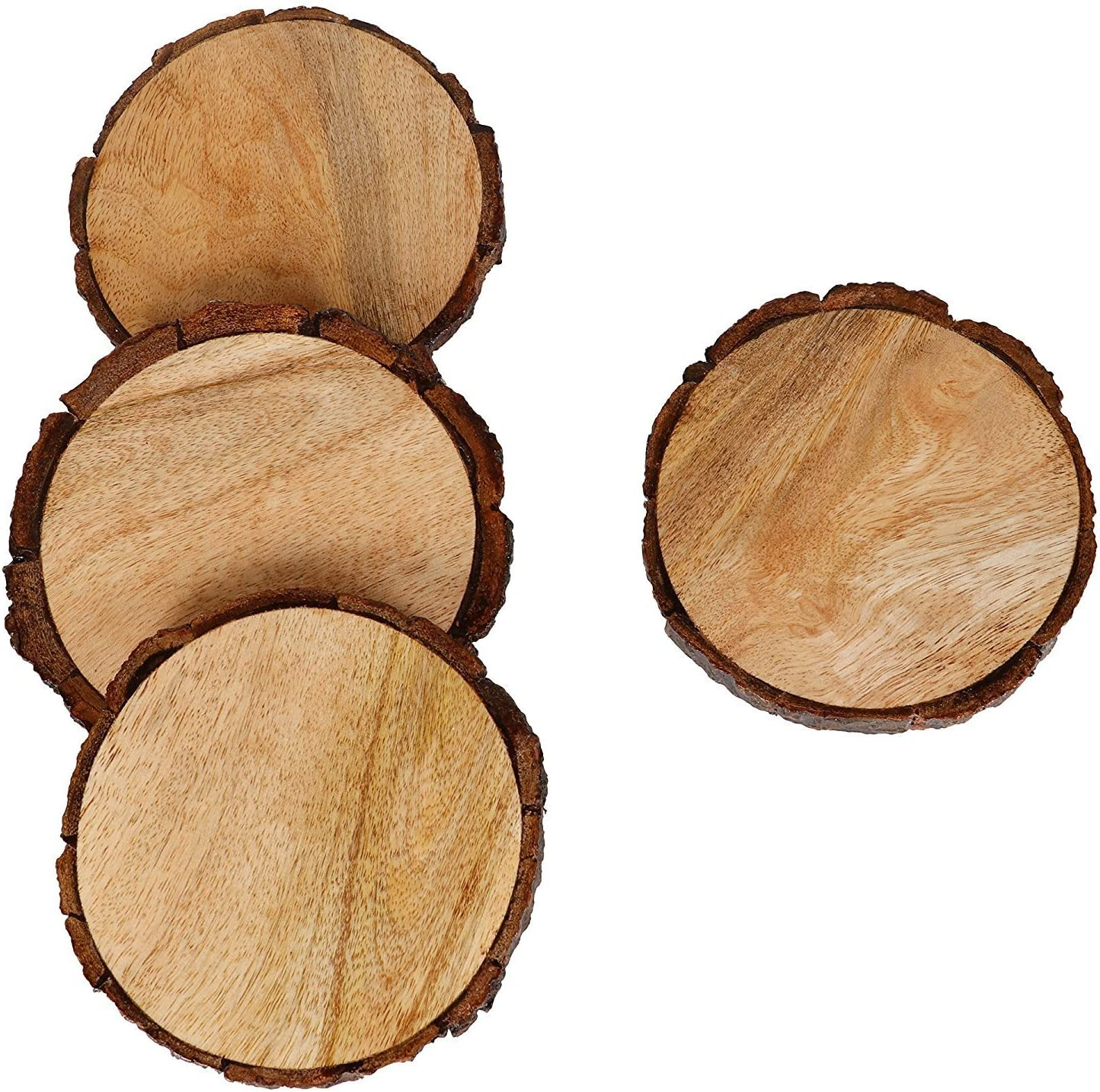 Natural Wooden Coasters with Tree Bark, Mango Wood Coasters for your Drinks, Beverages & Wine/Bar Glasses (Pack of 4)