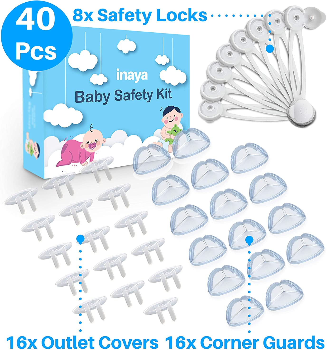Complete Baby Proofing Kit - 8 Safety Locks, 16 Corner Guards, 16 Outlet Covers - Accident Proof Devices to Keep Your Child Safe at Home - Inaya - Great Gift for Baby Shower & Baby Registry