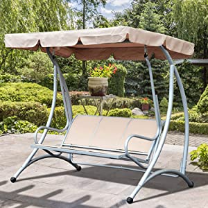 Galapara Swing Canopy Cover, Waterproof Swing Canopy Cover, Bench Top Replacement Sun Shade Cover Decor for Outdoor Garden Patio Yard Park Porch Seat Furniture