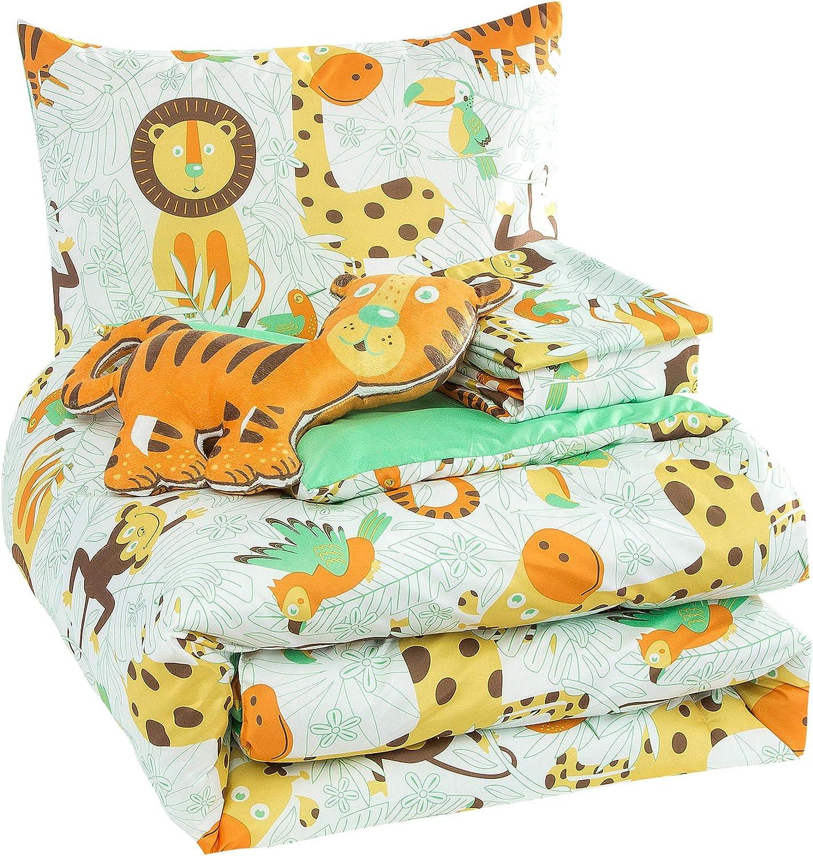 WPM Kids Collection Bedding 5 Piece White Green Safari Forest Jungle Print Full Size Comforter Set with Sheet Pillow sham and Furry Toy Fun Tiger Monkey Theme Design (Safari Life, Full Comforter)
