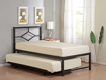 Amazon Com 39 Twin Size Day Bed Frame With Pop Up High Riser Trundle Headboard Rails Slats Twin Daybed Trundle Office Products
