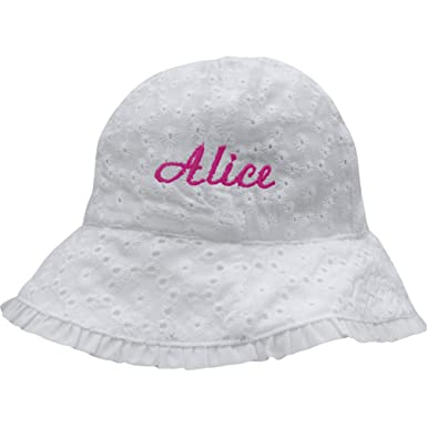 3413c102d108f Personalised Baby Girl s White Daisy   Bow Summer Sun Hat (12-18 Months (