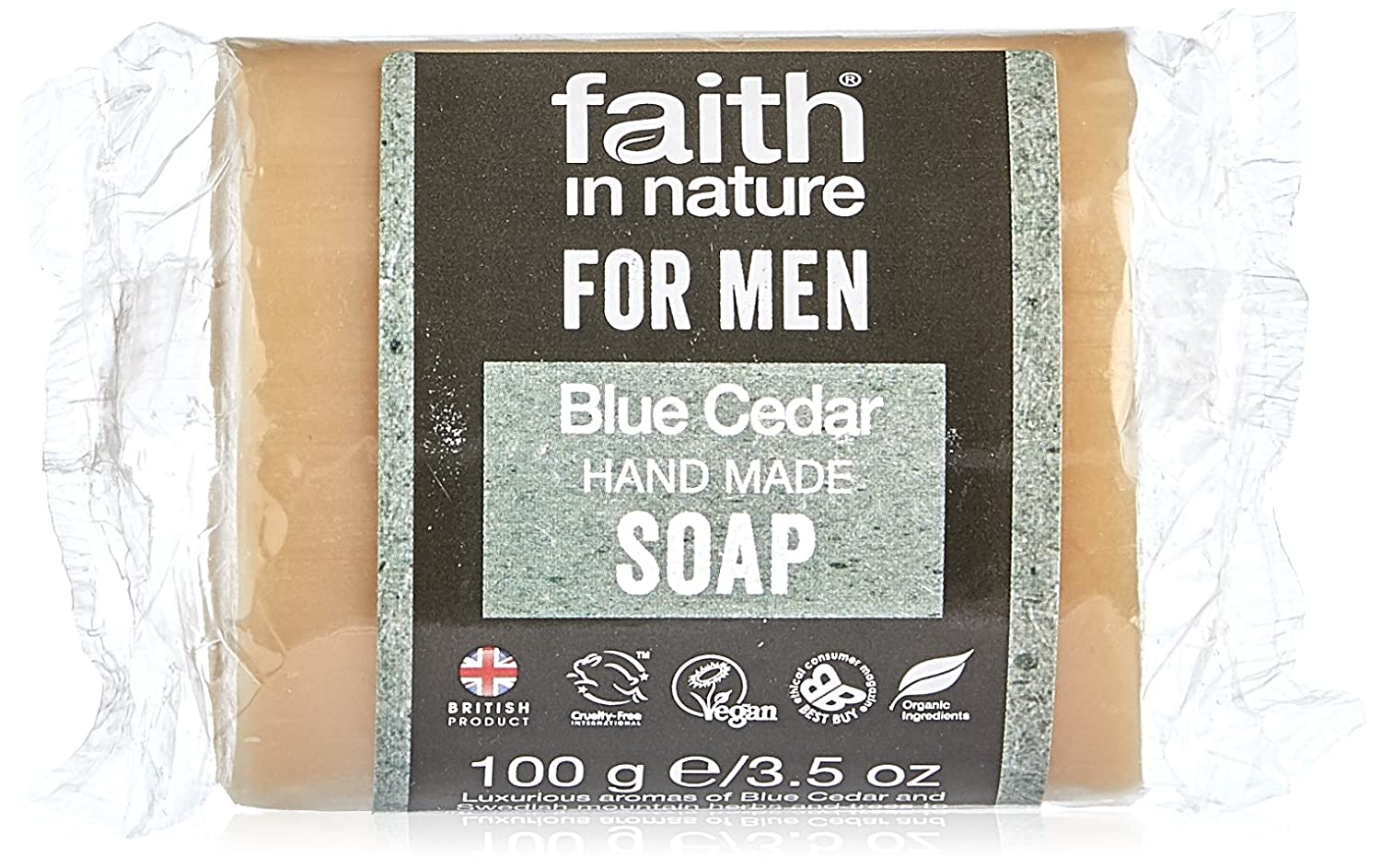 Faith In Nature Hand Made for Men Blue Cedar Soap 100g 79861
