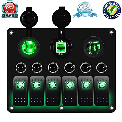 amazon com dcflat 3 gang 4 gang 6 gang circuit led car rh amazon com