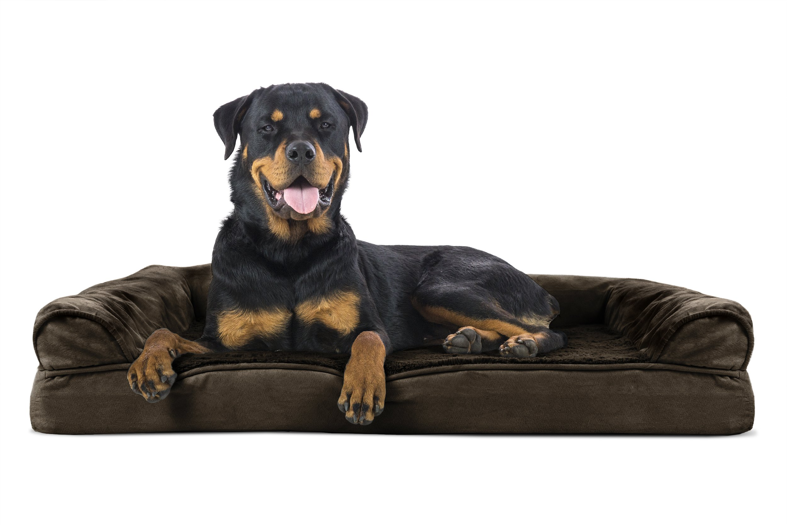 Furhaven Pet Orthopedic Sofa Pet Bed, Jumbo, Espresso