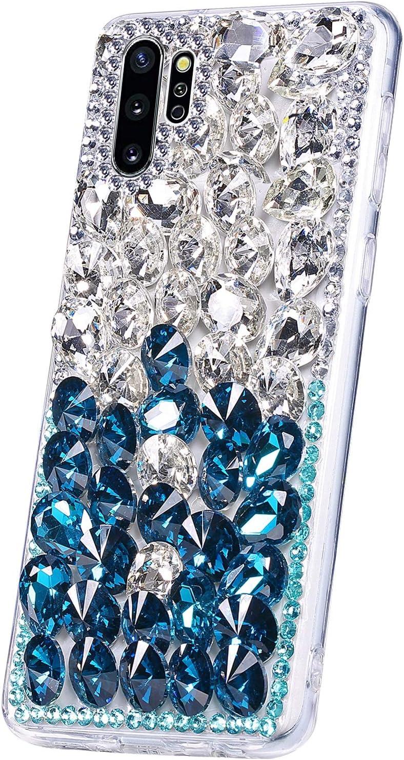 PHEZEN Case for Galaxy Note 10 Plus Dimaond Case,Girls Women Luxury Bling Crystal Rhinestone Glitter Case Hard PC Back Cover Soft TPU Silicone Rubber Bumper Case for Galaxy Note 10 Plus,Silver