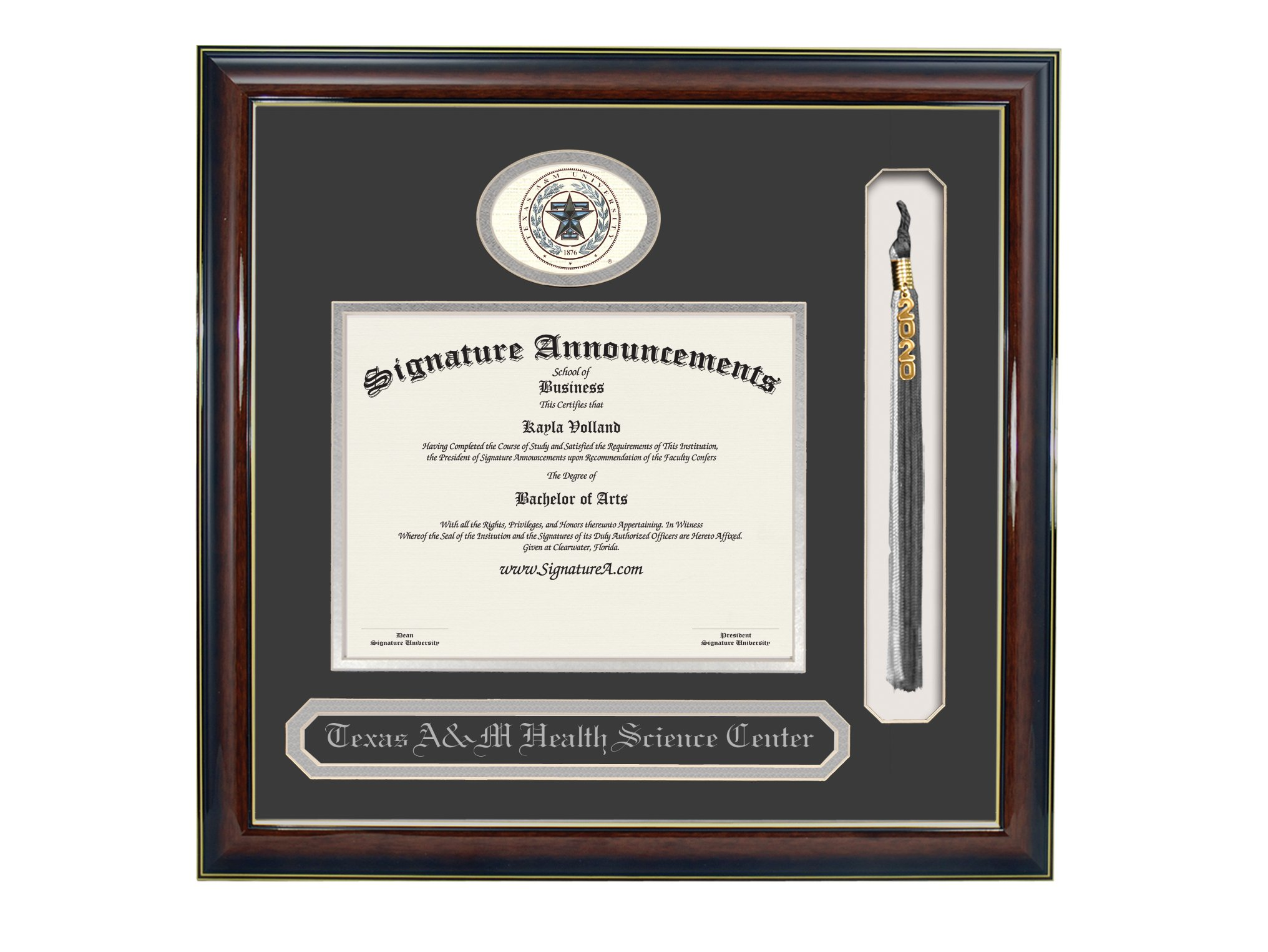 Signature Announcements Texas-a&M Science-Center-School-of-Public-Health Undergraduate, Doctorate Sculpted Foil Seal, Name & Tassel Graduation Diploma Frame, 23'' x 24'', Gloss Mahogany with Gold Accent