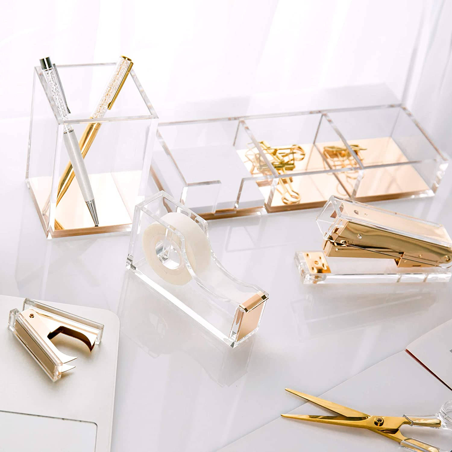 SIRMEDAL Chic Ultra Clear Acrylic and Gold Staple Remover for Office School Home, Desk Accessories. : Office Products