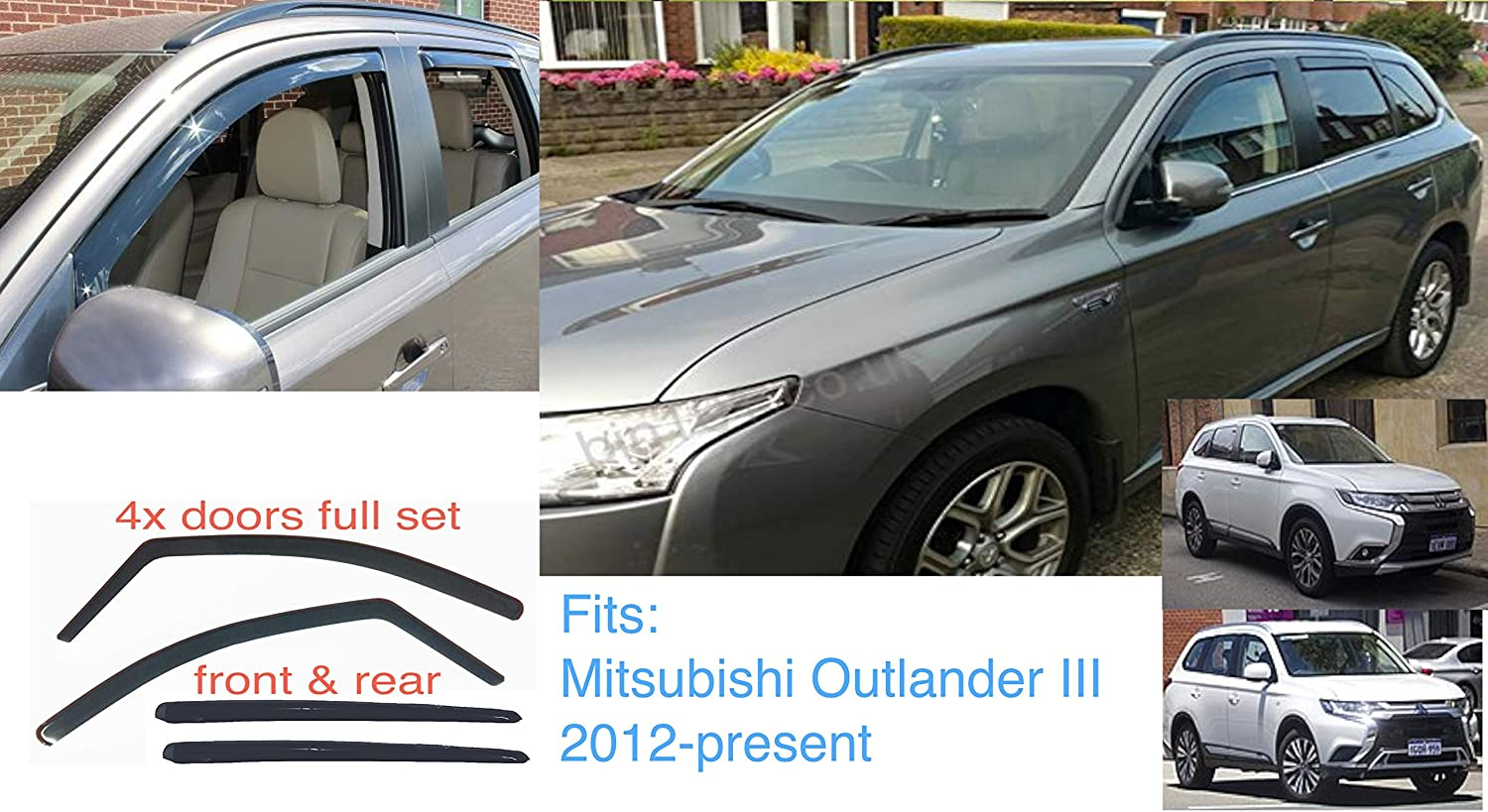 present Wind Deflectors Dark Smoke Tinted Acrylic Glass Door Side Windows Interior In-Channel Visors Rain Snow Sun Guards AC WOW 4x Front Rear compatible with MITSUBISHI Outlander PHEV 2013