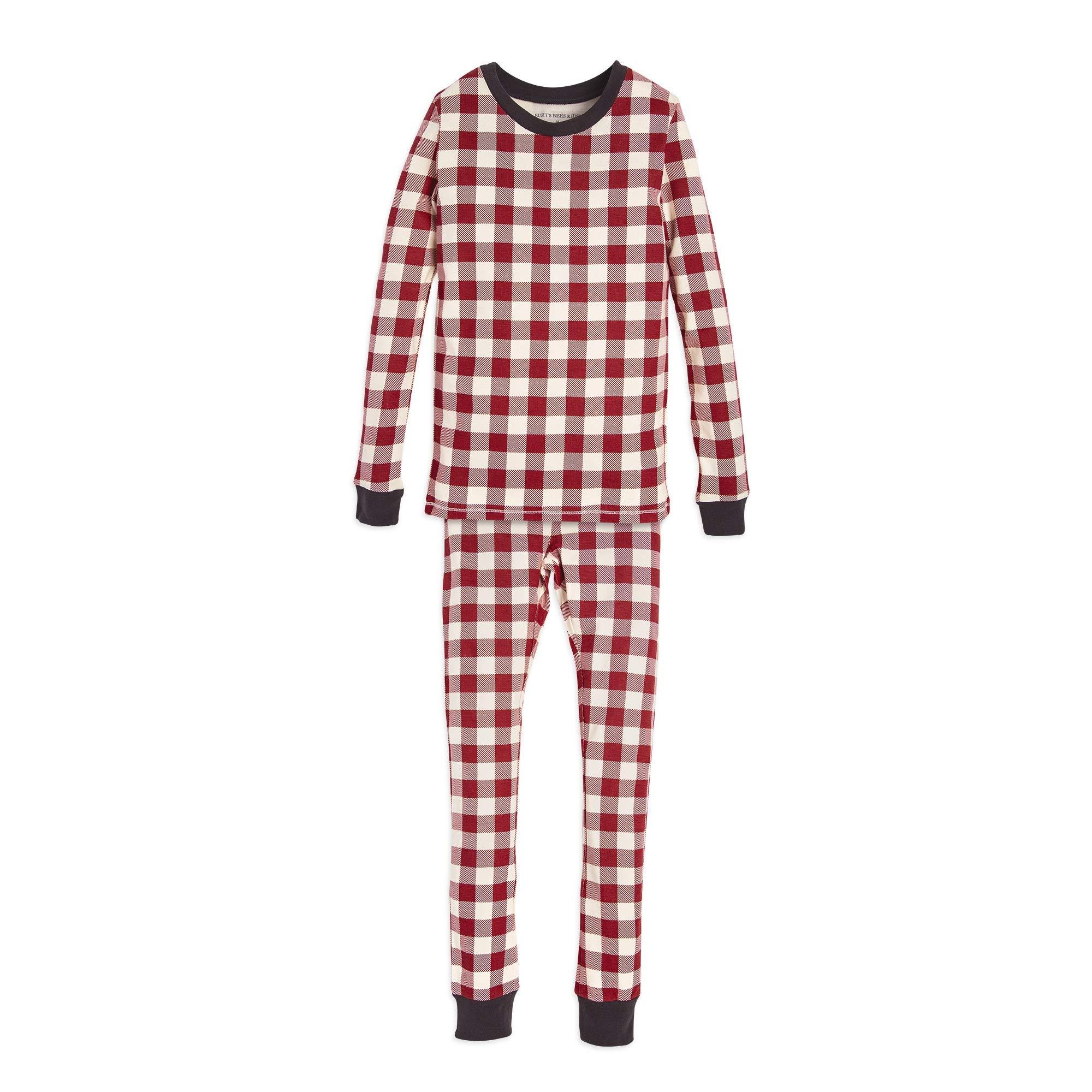 Burt's Bees Baby Big Family Jammies, Holiday Matching Pajamas, Buffalo Check Cranberry, Kids X-Small (4/5)