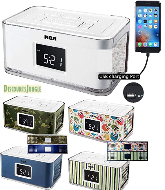 Amazon.com: Emerson CKS1708 SmartSet Alarm Clock Radio (REFURBISHED) & RCA RCR8622 (New) w4 Multi Color Wraps RCA RCR8622 Coms w/USB Charging Port for ...