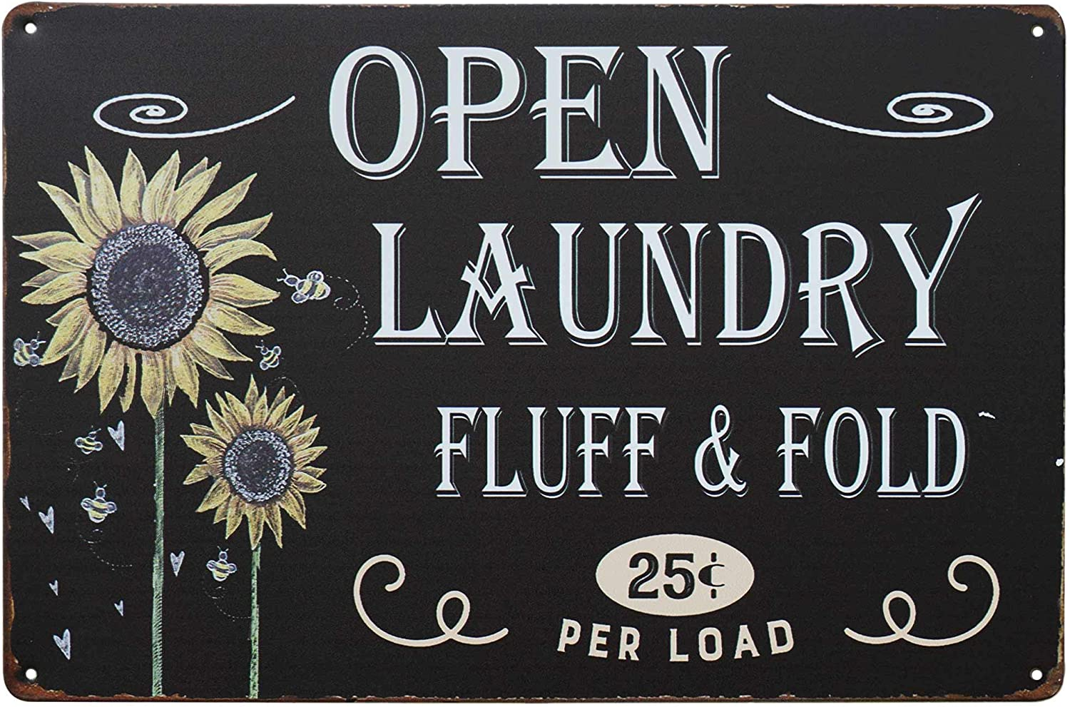 PXIYOU Sunflower Open Laundry Fluff Fold Vintage Farmhouse Laundry Room Sign Country Wall Decor Wash Room Signs Wall Home Decor Art Hanging Signs 8X12Inch