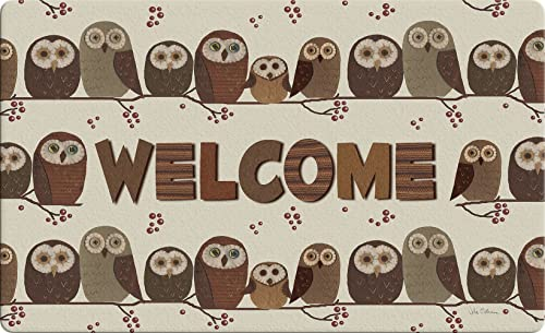 Toland Home Garden Welcome Owls 18 x 30 Inch Decorative Bird Floor Mat Rustic Cute Doormat