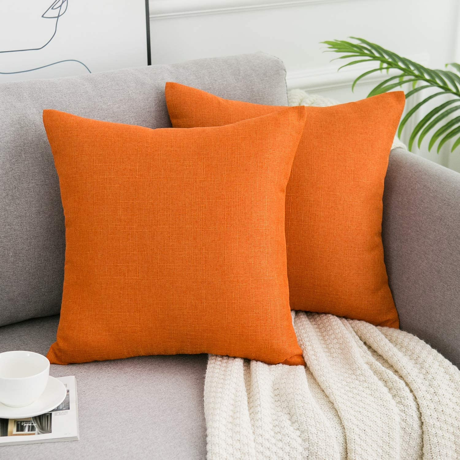 WLNUI Orange Pillow Covers Decorative Square Throw Pillow Covers Cotton Linen Cushion Case for Sofa Couch Home Farmhouse Decor 18x18 Inches