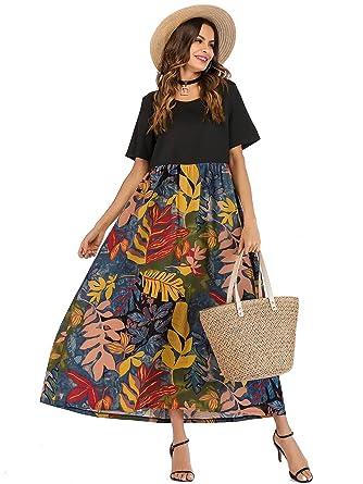 b63ab76fba Milumia Women Leaf Print Short Sleeve High Waist Smock Tunic Maxi Dress  Multicolor-2 S