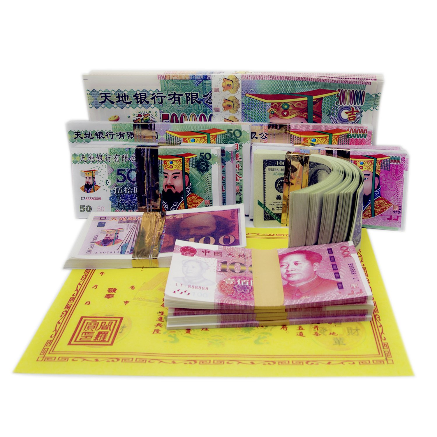 CONHECI 400 Pcs Joss Paper Money Ghost Money,Hell Bank Notes for Funerals, The Qingming Festival and The Hungry Ghost Festival ,in Honor of Ancestors,Good Wishes,Pray for Good Fortune.