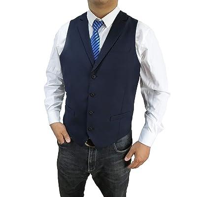 Anlyimeg Men's 4 Buttons 3 Pockets Business Wedding Vest at Men's Clothing store