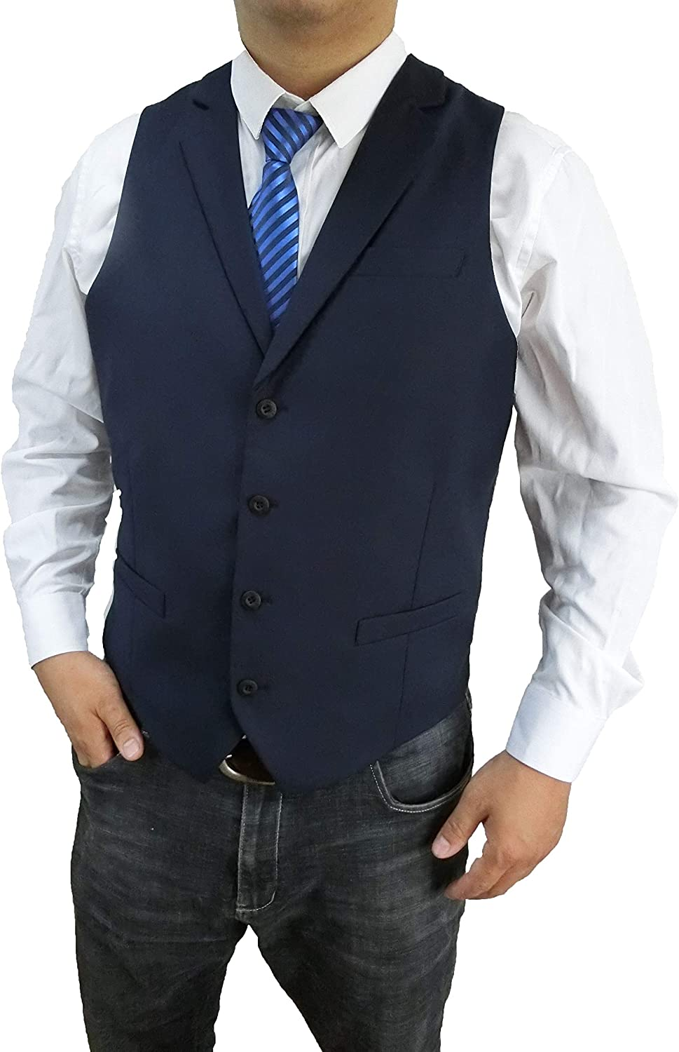 Anlyimeg Men's 4 Buttons 3 Pockets Business Wedding Vest