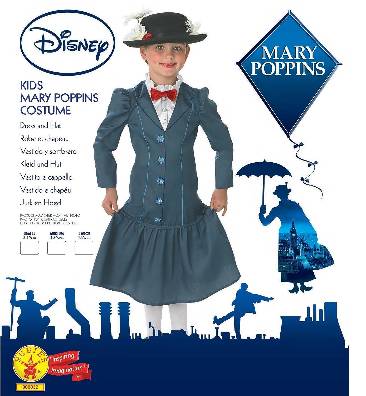 Rubies - Disfraz oficial de Mary Poppins con sombrero para niñas, disfraz infantil de Disney de los años 60: Amazon.es: Juguetes y juegos