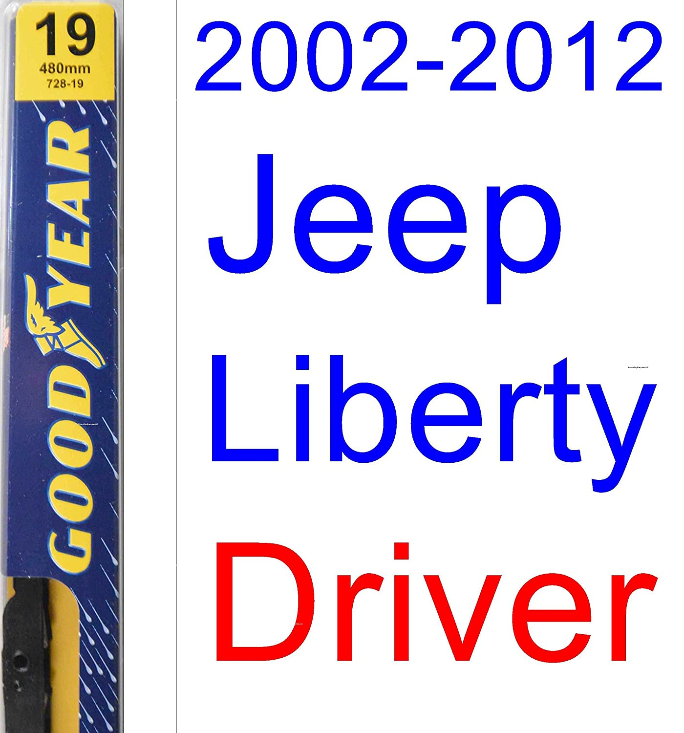 2002-2012 Jeep Liberty Replacement Wiper Blade Set/Kit (Set of 3 Blades) (Goodyear Wiper Blades-Premium) ...