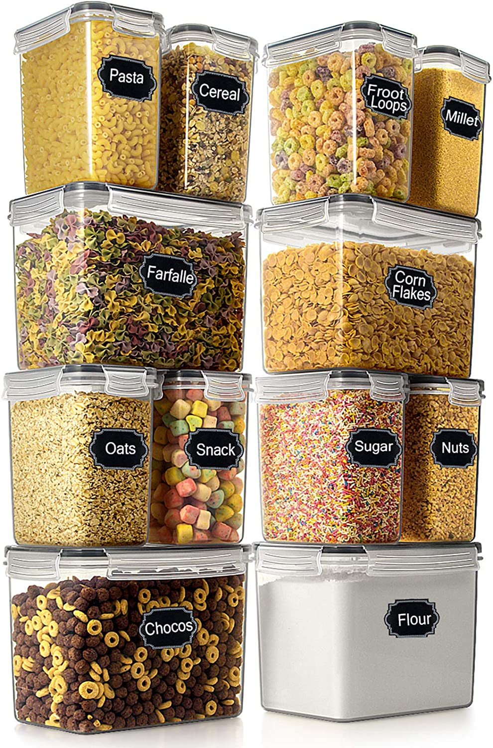 Airtight Food Storage Container - Wildone Cereal & Dry Food Storage Containers Set of 12, Leak Proof & BPA Free, with 20 Labels & 1 Chalk Marker