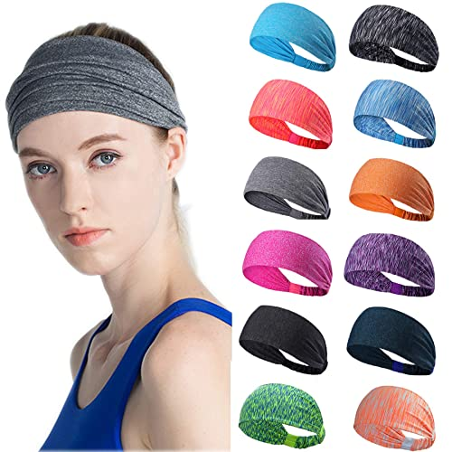3469e6d2f17c Image Unavailable. Image not available for. Color  Besteel 12 Pcs Yoga Sport  Workout Headbands for Women Running Sports Fitness Elastic Wicking Non Slip