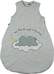 Jacky Baby Mädchen und Jungen Schlafsack, Elephant, Alter 2-6 Monate, Größe: 62/68, Farbe: Grau, 350018