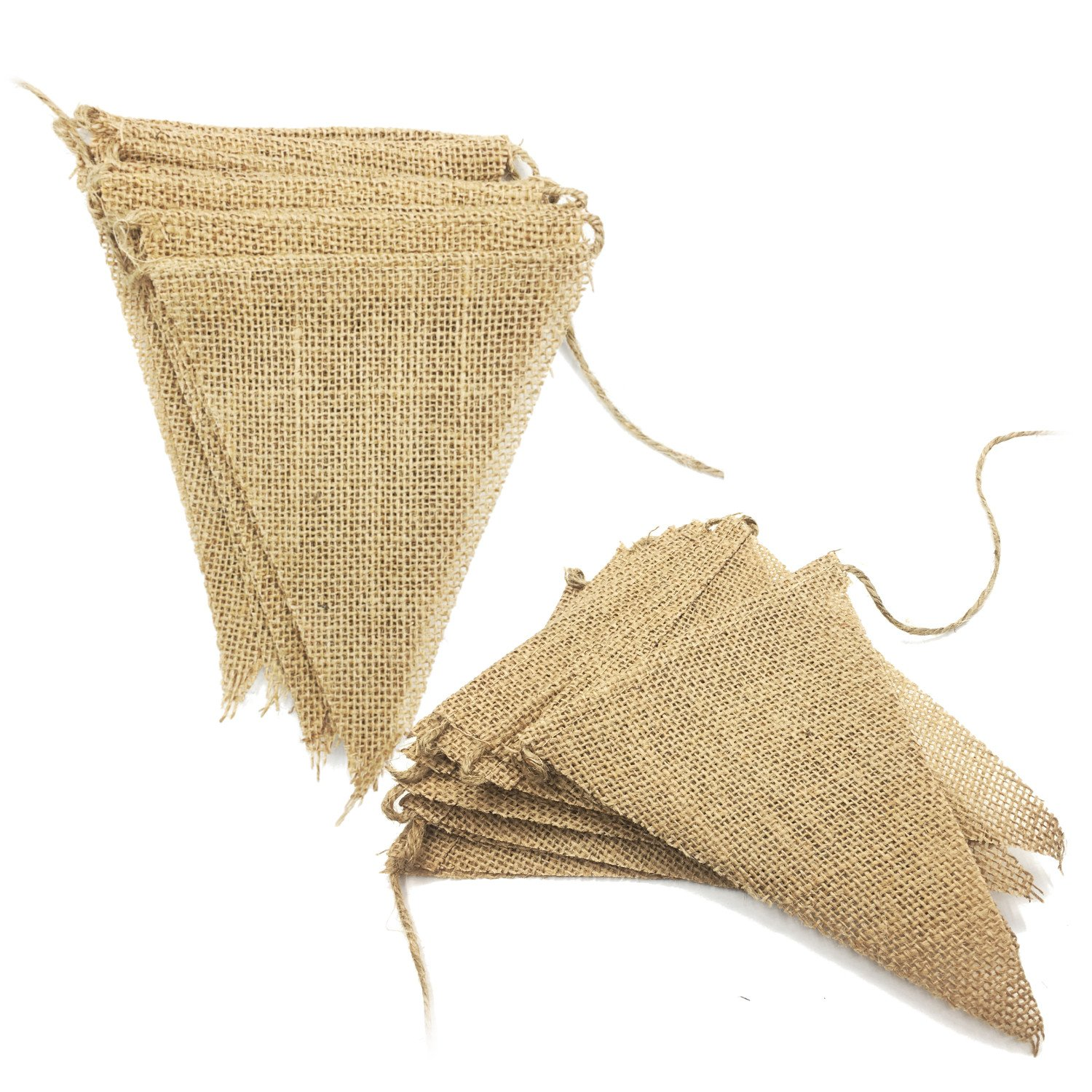 Ovee Lando 2.7m Burlap Banner Vintage Bunting Banner with 13pcs Flags DIY Wedding Birthday Party Decoration 2 pack   B01CZQXNSC