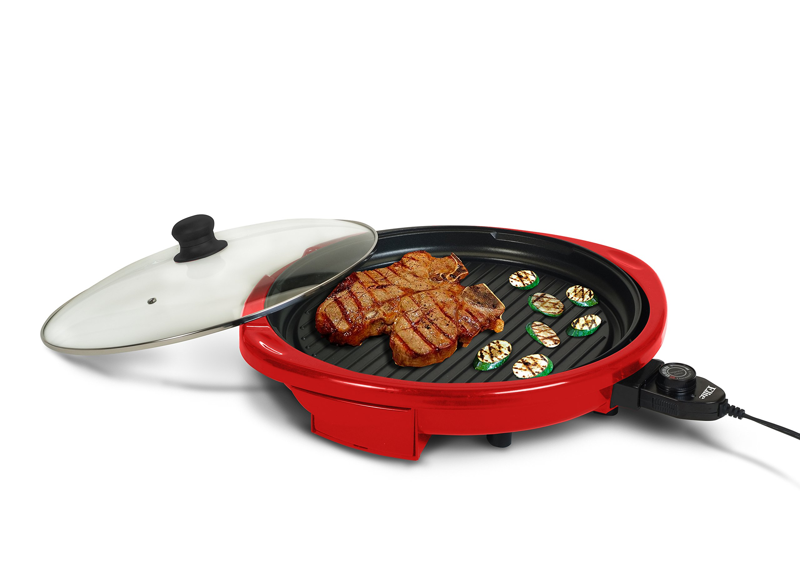 Elite Gourmet EMG-980R Indoor Grill, Red