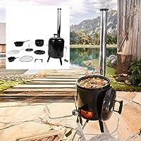 Smoker XXL schwarz Räuchergrill Garten Camping Balkon ✔ Deckel ✔ rund ✔ stehend grillen ✔ Grillen mit Holzkohle