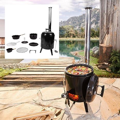 Frankenspatz con función grill Barbacoa Parrilla de Exterior Cocina Caldero sopa Hervidor para asar pollos (