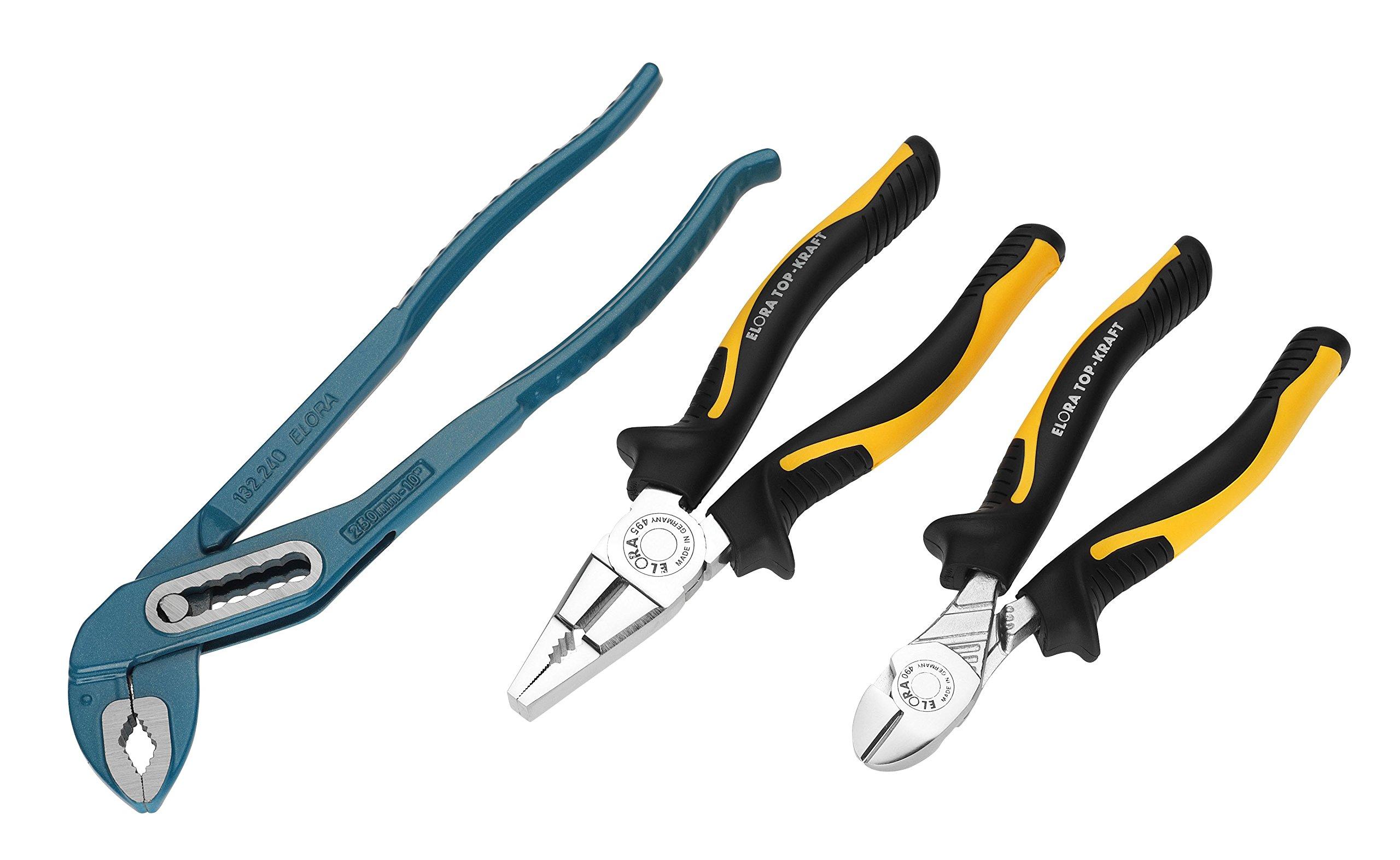 Elora 404500311000 chrome-plated/polished Mechanic's pliers set (3 piece)
