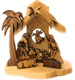"Christmas Tree Ornament Nativity Olive Wood from Bethlehem 3.5"" x 2.5"" Box"