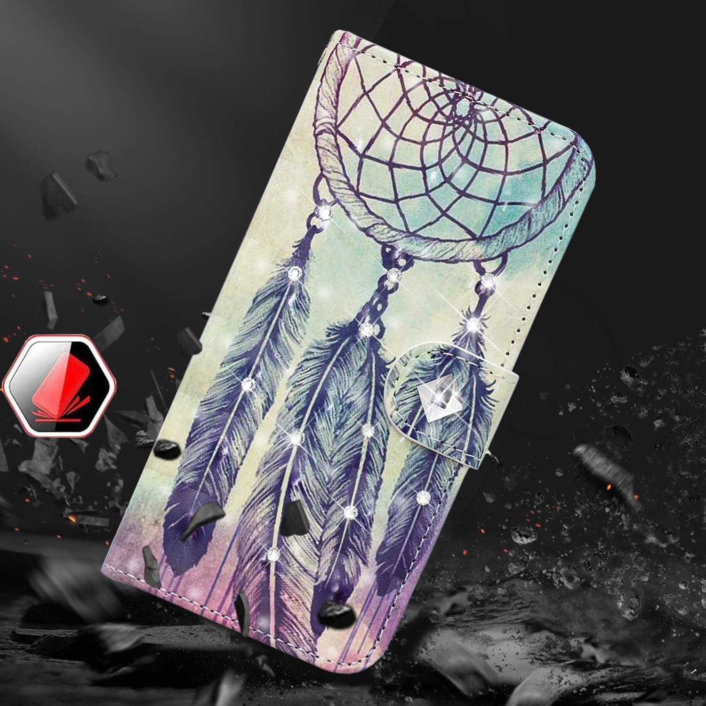 Obesky Glitzer H/ülle f/ür Huawei Y6 Pro 2019//Y6 2019//Honor 8A,Bling Diamant PU Leder Flip Wallet Case Standfunktion Kartensfach Magnetverschluss mit 3D Muster Kirschbl/üte Haus Design Schutzh/ülle