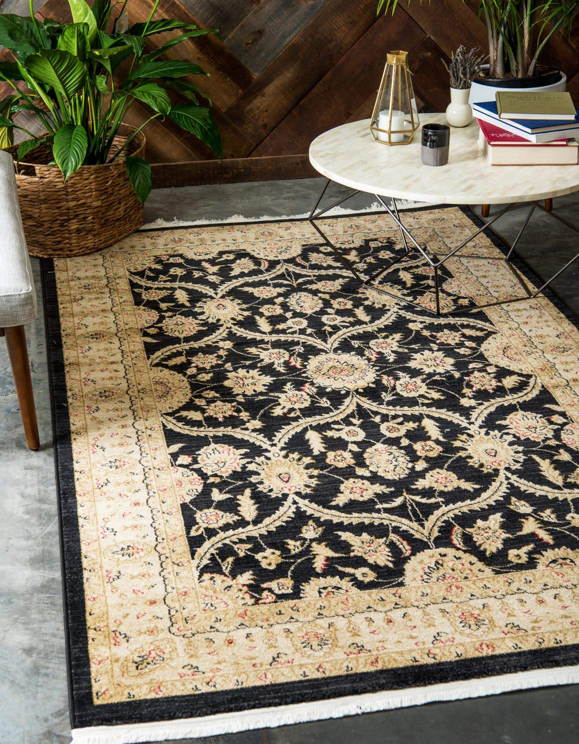 Unique Loom Edinburgh Collection Oriental Traditional French Country Black Area Rug 3 3 x 5 3